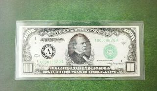 1934 A $1,  000 One Thousand Dollar Boston Federal Reserve Note