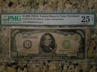 1934a $1000 One Thousand Dollar Scarce Cleveland Pmg Vf 25 Net
