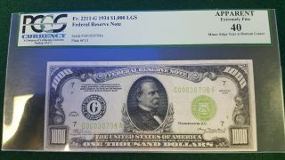1934 $1000 One Thousand Dollar Bill Scarce Light Green Seal Pmg Ef 40