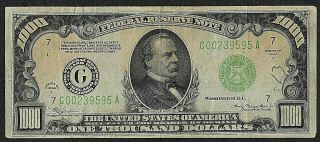1000 One Thousand Dollar Bill Currency 1934 A Chicago Illinois G00239595a
