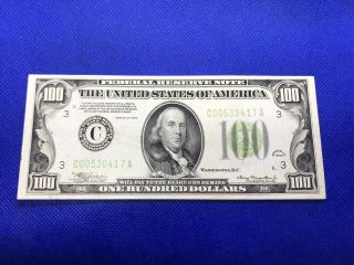 1934 $100 One Hundred Dollar Bill Federal Reserve Note Uncirculated Lime C