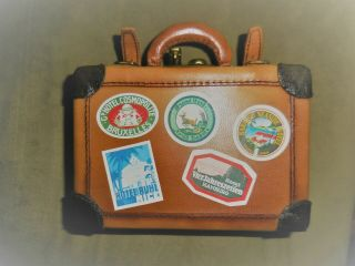 Miniature Leather Luggage Suitcase Trunk Travel R.  John Wright Doll Collectible