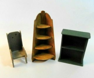 1:24 Scale Miniature Dollhouse 3 Pc.  Artist Crafted Cat Chair Corner Curio Shelf