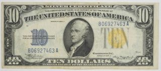 $10 Silver Certificate Series Of 1934 A Yellow Seal North Africa Choice Vf (463a