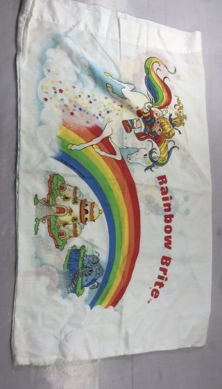 Vintage 1983 Rainbow Brite Pillowcase Cover Hallmark Bedding Fabric Craft 1pc