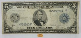 Fr.  872 1914 St.  Louis Large Federal Reserve Note $5,  Pin Holes - 17469