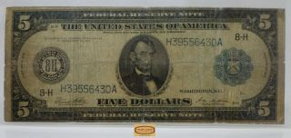 Fr.  875 1914 St.  Louis Large Federal Reserve Note $5,  Hole,  Tears - 17227