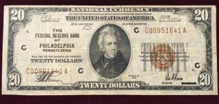 1929 $20 Federal Reserve Note (from The Bank Of Philadelphia) S/h