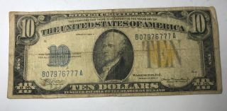 United States Of America $10 Silver Certificate Series 1934a North Africa