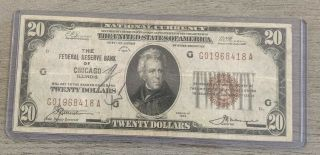Series Of 1929 U.  S.  National Currency $20 Dollar Frbn Chicago,  Illinois - W5