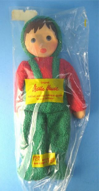 Kathe Kruse Terry Cloth Doll In Package Baby Toy Red And Green Outfit