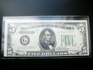 $5 1934 A ( (chicago))  Federal Reserve Note Choice Xf/au Note