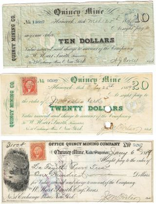 1860s $10,  $20,  $100 Quincy Mine,  Michigan,  Copper Mining Scrip Set