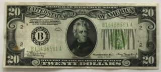 Wow 1934 $20 York Federal Reserve Note