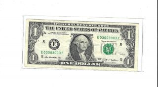 2009 $1 Fancy Serial Number E03003003f