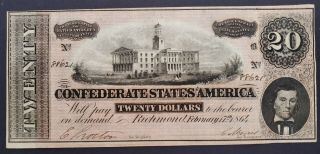 1864 Civil War Confederate Currency T - 67 $20 Csa Note Tennessee Capital