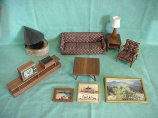 Doll House Hand Crafted Wood Furn Sofa,  Chair,  Tv,  Coffee,  End Table,  Fireplace,  Picts