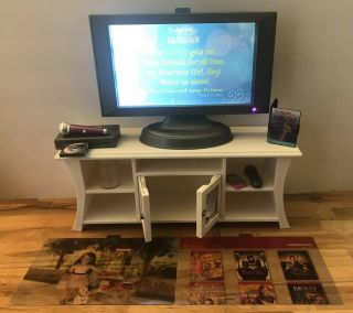 American Girl Ag Doll Music & Movies Entertainment Set Tv Remote Dvd Cabinet