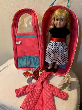 "Our Generation 18"" Doll Carrier Backpack Battat Case /fiber Craft 18"" Doll Extra"