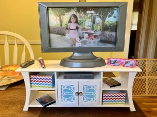 American Girl Doll Music & Movies Entertainment Set Truly Me Tv Stand Dvd