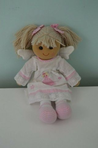 Powell Craft Soft Doll Angel Wings Star Pink White Gingham Bow Yarn Hair Stuffed